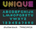 linear illusion vector font for ... | Shutterstock .eps vector #744614416