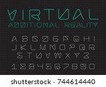 futuristic vector font design.... | Shutterstock .eps vector #744614440