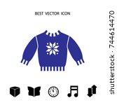winter sweater  vector icon | Shutterstock .eps vector #744614470