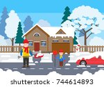 father and son shoveling snow... | Shutterstock .eps vector #744614893