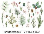 Watercolor Christmas Set With...