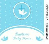 baptism invitation card... | Shutterstock .eps vector #744620830