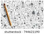 hand drawn alcohol vector... | Shutterstock .eps vector #744621190