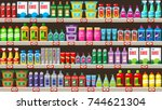 shelves with household... | Shutterstock .eps vector #744621304