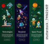 space universe vertical  banner ...   Shutterstock .eps vector #744621409