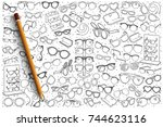 hand drawn spectacles shop... | Shutterstock .eps vector #744623116