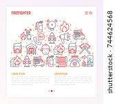 firefighter concept in half... | Shutterstock .eps vector #744624568