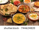 assorted indian food | Shutterstock . vector #744624820