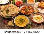 assorted indian food | Shutterstock . vector #744624820