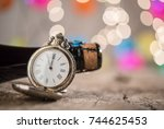 champagne bottle and ancient... | Shutterstock . vector #744625453