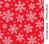 snowflakes pattern. seamless... | Shutterstock .eps vector #744625810