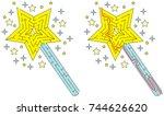 easy magic wand maze for... | Shutterstock .eps vector #744626620