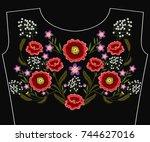 embroidery poppy flowers for...   Shutterstock .eps vector #744627016