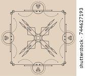 line dot tattoo vector art | Shutterstock .eps vector #744627193