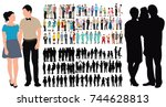 people collection  isometric... | Shutterstock . vector #744628813