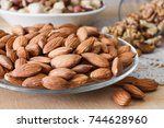 nuts and honey photoset. walnut ... | Shutterstock . vector #744628960
