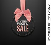 cyber monday sale round banner... | Shutterstock . vector #744629320