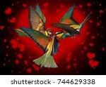 love triangle of birds fighting ... | Shutterstock . vector #744629338