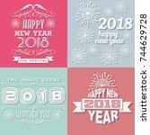 2018 happy new yearwritten... | Shutterstock .eps vector #744629728