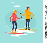 couple riding snowboards ... | Shutterstock .eps vector #744633904