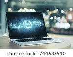 laptop with abstract ico... | Shutterstock . vector #744633910