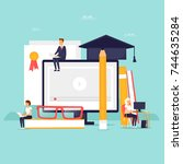 on line education. flat design... | Shutterstock .eps vector #744635284