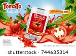 tomato juice ads  metal can... | Shutterstock .eps vector #744635314