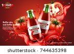 tomato juice ads  glass bottle... | Shutterstock .eps vector #744635398