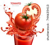 tomato juice and sauce  3d... | Shutterstock .eps vector #744635413