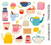 super cute set of tea and... | Shutterstock .eps vector #744636436