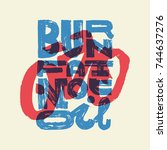 burn you fat not oil. bicycle... | Shutterstock .eps vector #744637276