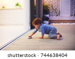 cute toddler baby boy playing... | Shutterstock . vector #744638404