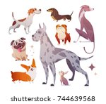 Stock vector cartoon dogs of different breeds and sizes funny beasts on a white background the dog is a symbol 744639568