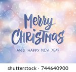 merry christmas and happy new... | Shutterstock .eps vector #744640900