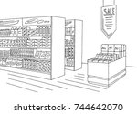 grocery store shop interior... | Shutterstock .eps vector #744642070