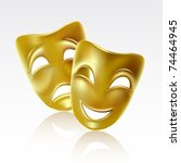 Theatrical mask on a white background. Mesh. - stock vector