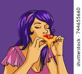 girl eating a pizza in the... | Shutterstock . vector #744655660