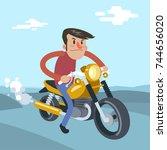 man ride on motorcycle  cartoon ... | Shutterstock .eps vector #744656020