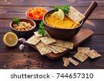 carrot and chickpeas hummus... | Shutterstock . vector #744657310