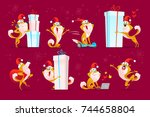 vector collection of funny dog... | Shutterstock .eps vector #744658804