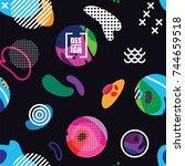 creative seamless pattern.... | Shutterstock .eps vector #744659518