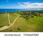aerial view of wind farm in... | Shutterstock . vector #744660580