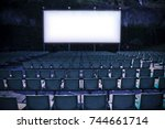 outdoor cinema with white... | Shutterstock . vector #744661714