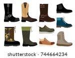 shoes for men. mans footwear... | Shutterstock .eps vector #744664234