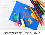 adorable childish applique and... | Shutterstock . vector #744664636