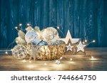christmas decoration for...   Shutterstock . vector #744664750