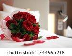 rose bouquet. soft focus of a... | Shutterstock . vector #744665218