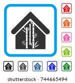 bamboo house icon. flat gray...