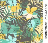 seamless exotic pattern with... | Shutterstock .eps vector #744665770