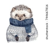 Stock photo cute watercolor hedgehog 744667816